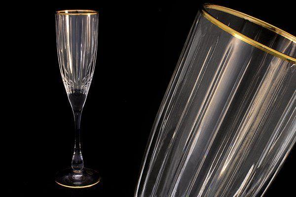 """Набор: 6 хрустальных бокалов для шампанского (0,15л)  """"Пиза золото"""""""