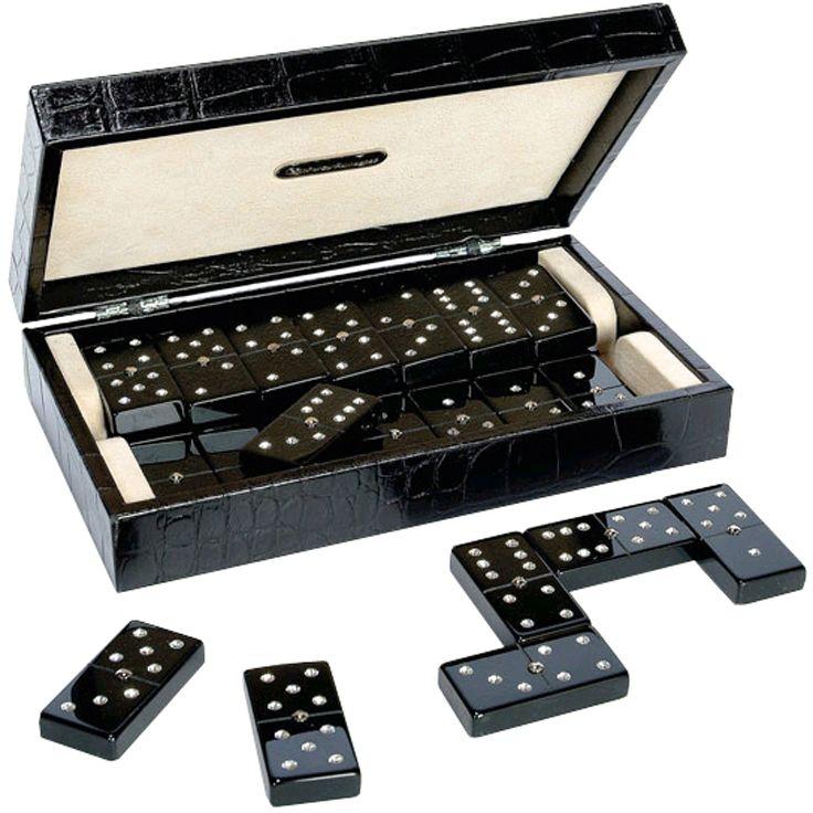 Домино в черном кожаном боксе, фишки - пластик, с украшениями, 240 х 140 х 60 мм