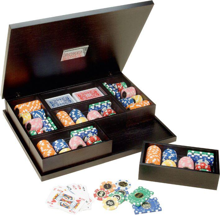 Набор для покера в деревянном кейсе, 260 фишек, пластик, 2 колоды карт