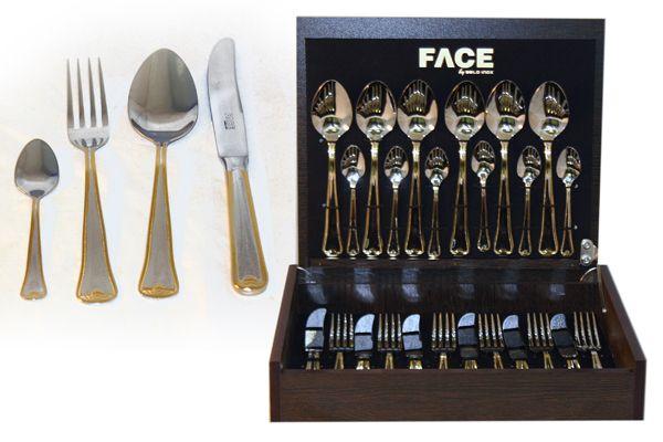 """Набор столовых приборов 24/6 """"Falperra Gold"""" в деревянной коробке"""