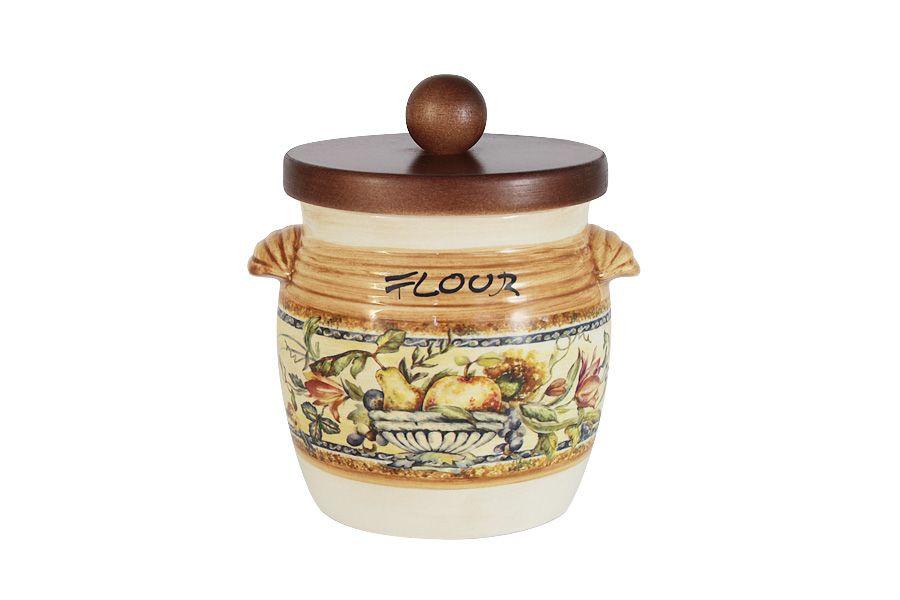 """Банка для сыпучих продуктов с деревянной крышкой (мука) 0,75 л """"Старая Тоскана"""""""