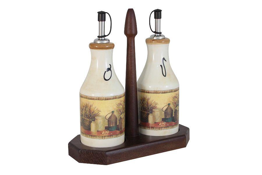 "Набор из 2-х бутылок для масла и уксуса на подставке ""Натюрморт"", 0.275 л"