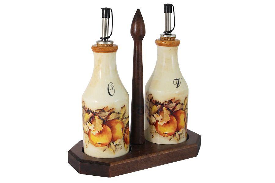 """Набор из 2-х бутылок для масла  и уксуса на подставке """"Зимние яблоки"""", 0.275 л"""