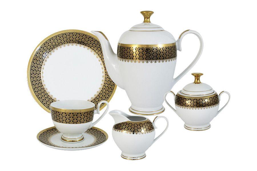 """Чайный сервиз на 6 персон """"Чёрное золото"""", 23 пр."""