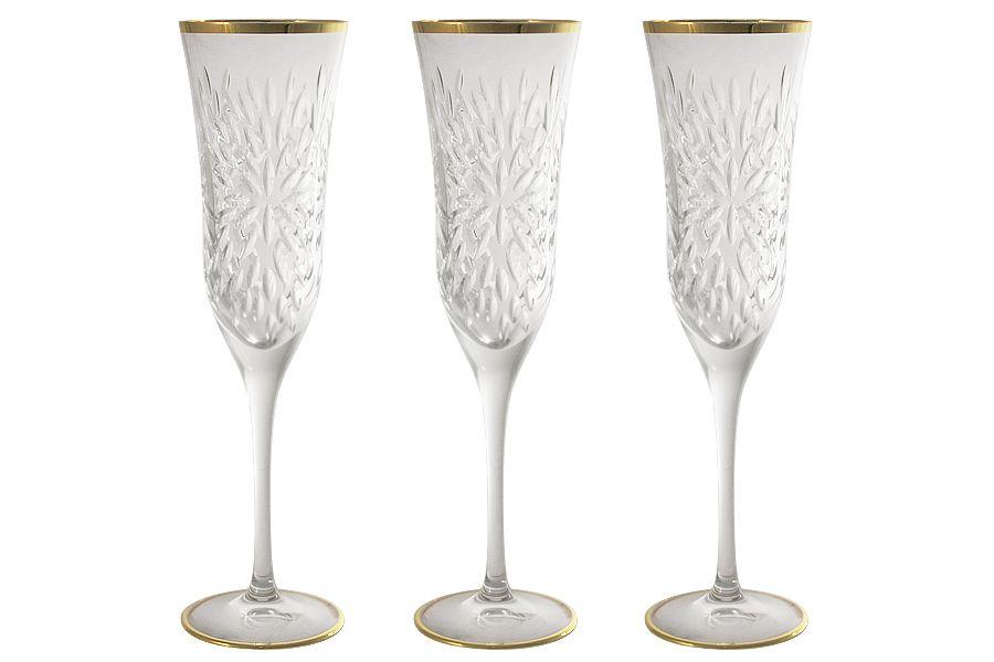 """Набор хрустальных бокалов для шампанского """"Умбрия Золото"""", 0.15л, 6шт."""