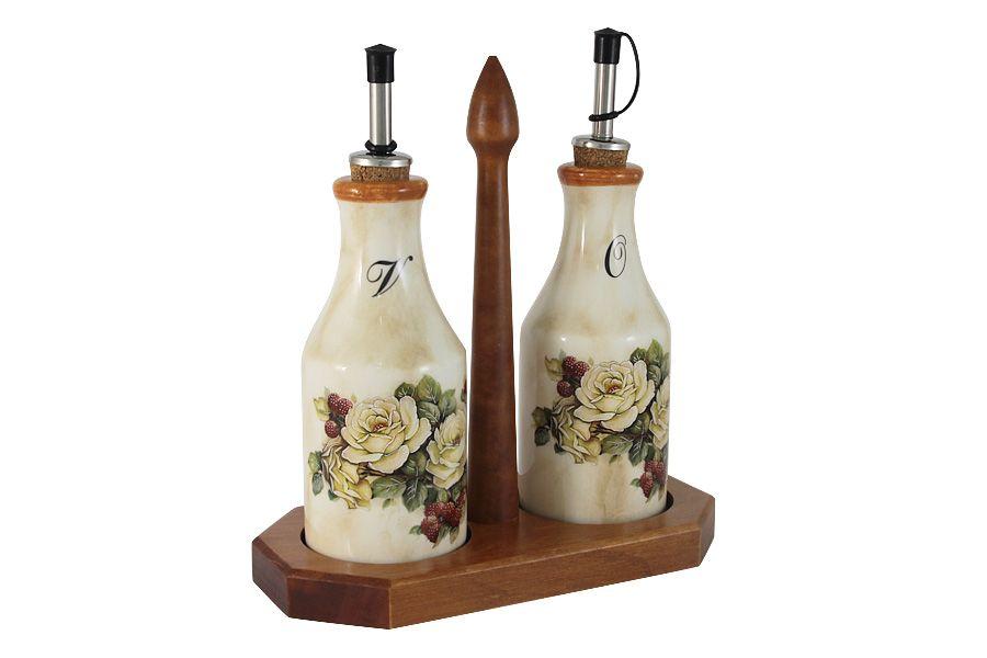 """Набор из 2-х бутылок для масла  и уксуса на подставке """"Роза и малина"""", 0.275 л"""