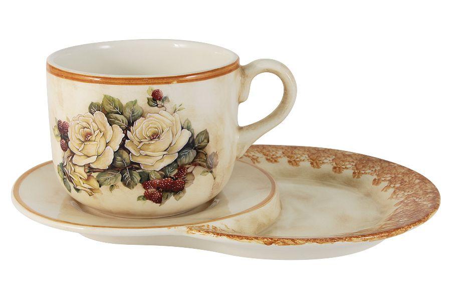"Чашка на маленьком подносе ""Роза и малина"", 0.5 л"