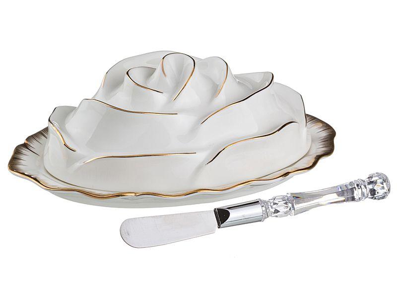 """Масленка """"Цветочная Симфония"""", 19х13 см. +нож для масла"""